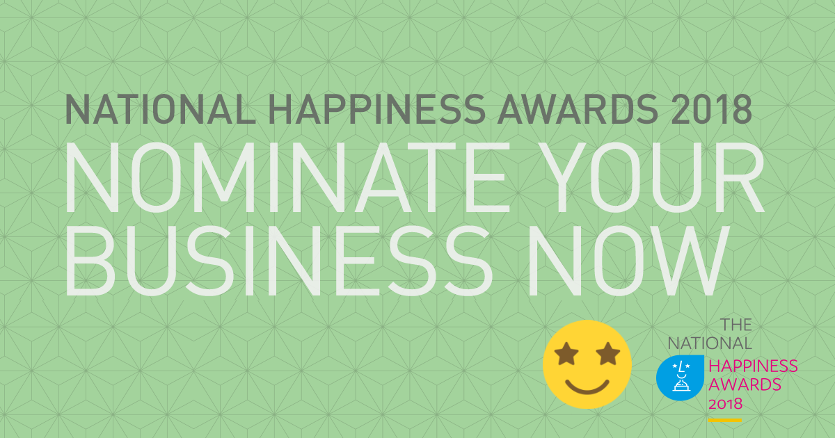 Nominate your business or organisation for a National Happiness Award 2018