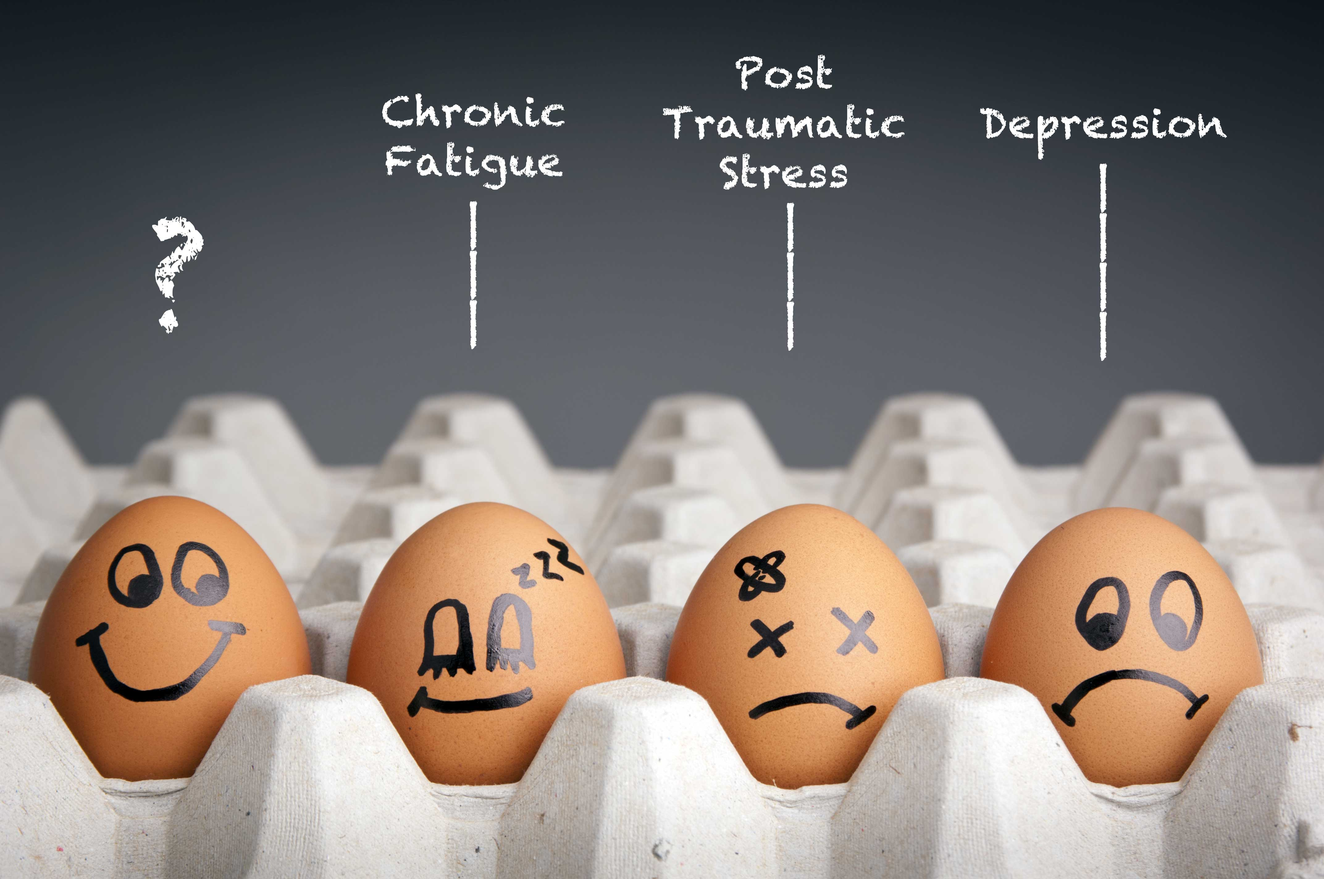 pictures of fragile eggs with mental health symptoms written on them