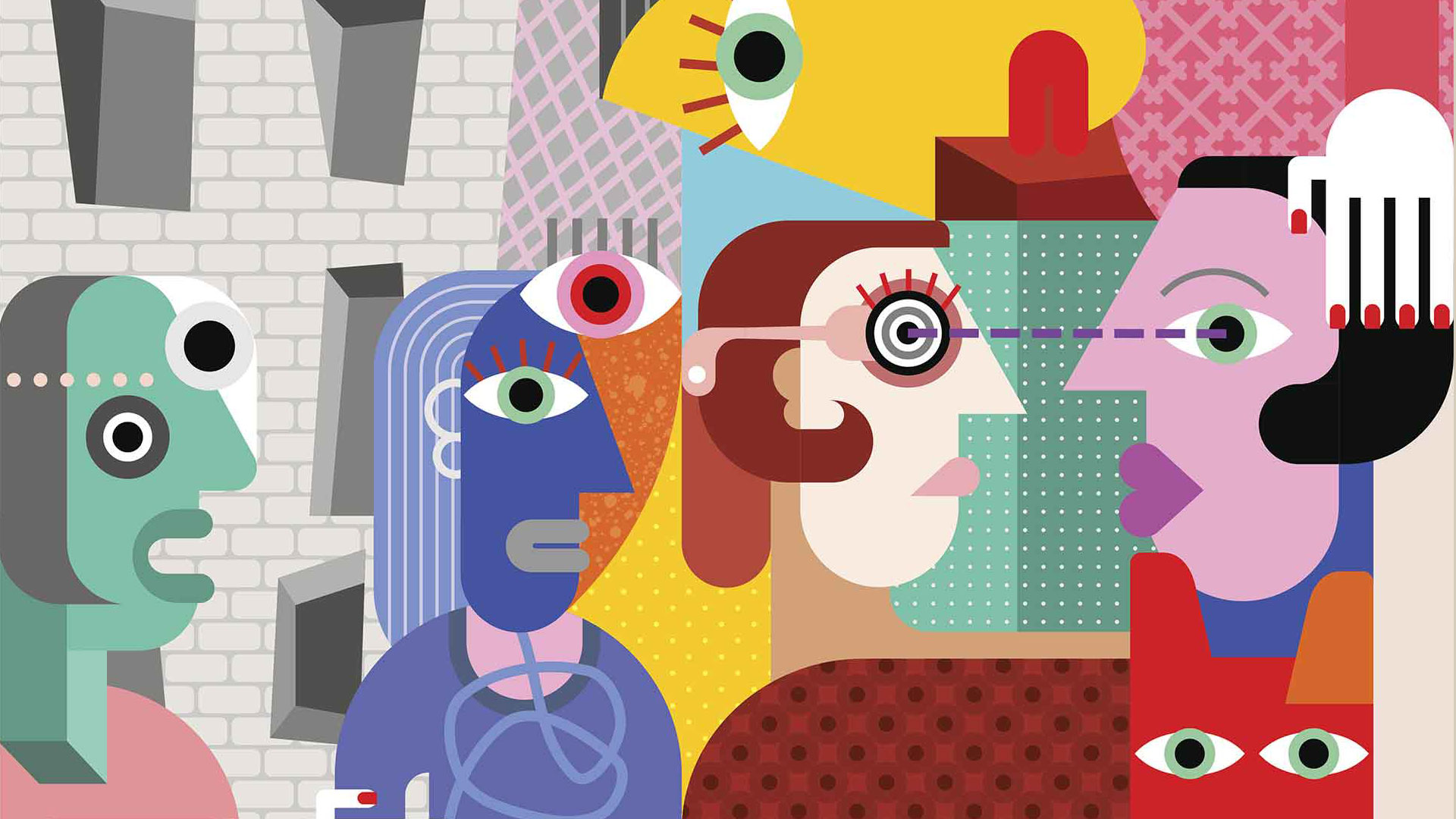 cubist illustration showing diverse people of different colour and gender