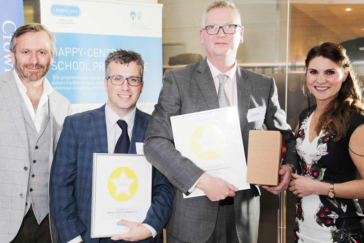 Ian Melloy from Federation of Heathfields Infants Wilnecote Junior School and Gregory West of Highfield South Farnham are joint second in the category of Happiest Headteacher and Teacher
